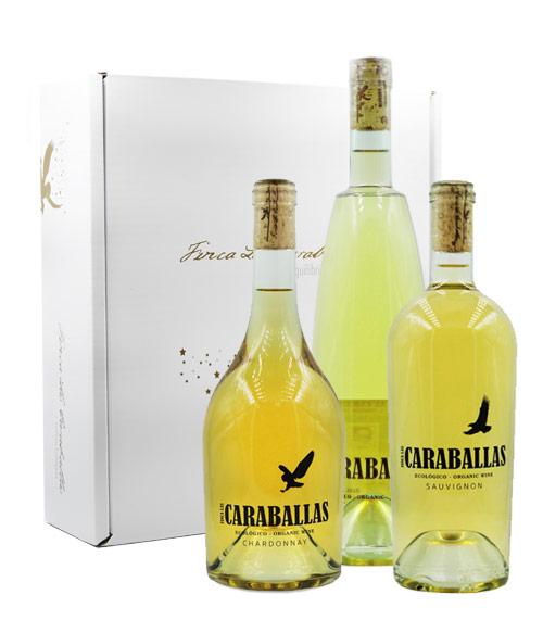 caraballas estuche tres botellas verdejo ecológico chardonnay sauvignon