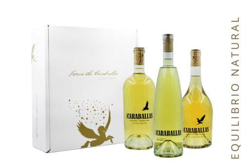 caraballas estuche tres botellas verdejo ecológico chardonnay sauvignon organic